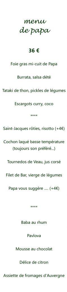 menu de papa