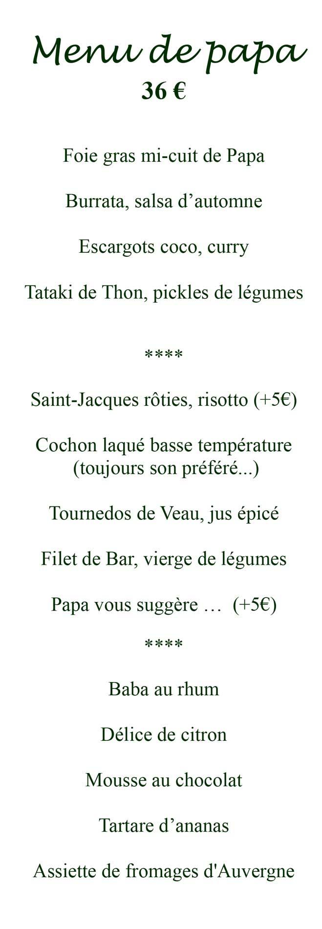 menu de papa samedi soir